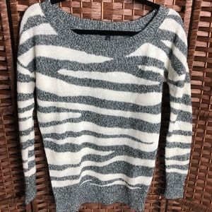 Express Sweater with Gray and Off-White Stripes XS